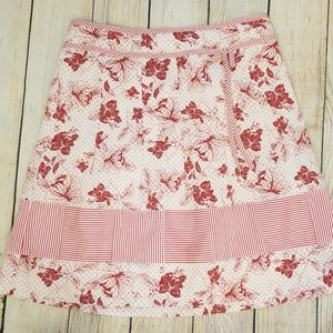 Ann Taylor Red And White Floral Skirt